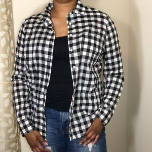 J.Crew Black & White Button Down Gingham Shirt